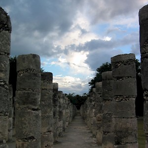 Nearly endless rows of columns at the Temple of the Warriors <a href=></a>