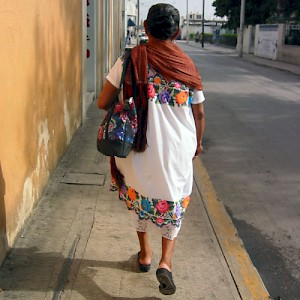 A 70-years young Mayan woman walks to the mercado in downtown Merida. <a href=></a>