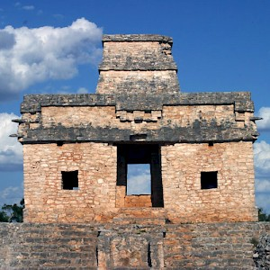 The Temple of the Seven Dolls at the Dzibilchaltun Archaeological Site, near Merida. <a href=></a>