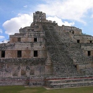The acropolis at Edzna. A similar structure dominated the center of the ancient Mayan city of T'ho, later renamed Merida by the Spaniards. <a href=></a>