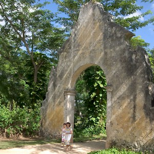 Many haciendas sport a grand entryway, usually some kind of arch. This arch at Hacienda San Jose Cholul is the tallest we&#039;ve seen. <a href=></a>