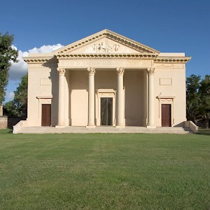 The newly-restored neoclassical capilla (chapel) at Hacienda Tekit de Regil. Most haciendas consist, at least, of a Casa Principal (Main House), Casa de Maquinas (Machine House, where the work gets done) and a capilla. <a href=></a>