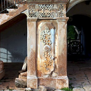Words fail us sometimes... This is a detail of the very old chicum finish on the grand stairway at Hacienda Tabi. <a href=></a>