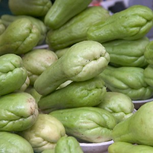 A favorite vegitable called chayote. It tastes like a combination of summer squash and apple. <a href=></a>