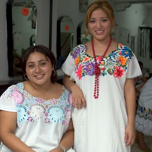 Two Mayan beauty school attendees. <a href=></a>