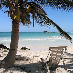 A beach on the Caribbean, south of Tulum. Need we say more? <a href=></a>