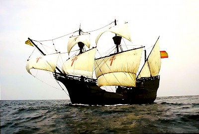 A replica of Ferdinand Magellan's ship, the Nao Victoria.  The original ship was the only one of five ships that made the complete circumnavigation with Juan Eclano, a Basque navigator, as the captain of the ship when it finished the trip. <a href=></a>