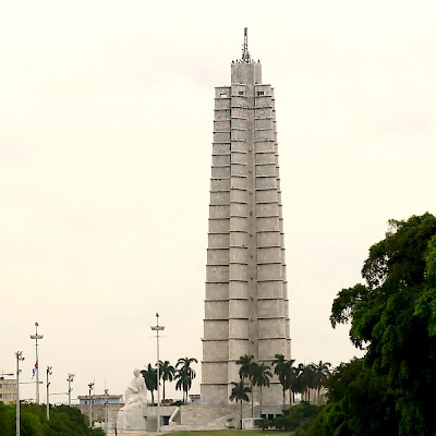 Jose Marti monument and marble sculpture near the Plaza of the Revolution.  President Obama laid a wreath at this monument in the memory of Jose Marti. <a href=></a>