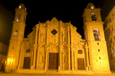 Night shot of Our Lady of Immaculate Conception Cathedral where Obama met with Cardinal Jamie Ortega <a href=></a>