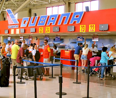 Interior of the Jose Marti International Airport.  Air Cubana ticket counter. <a href=></a>