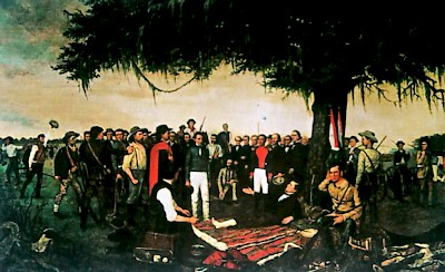 General Santa Anna surrendering to the injured General Sam Houston <a href=></a>