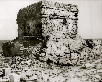 Temple dedicated to the Maya goddess Ixchel as it appeared in 1837 when the Texas Navy visited Isla Mujeres <a href=></a>