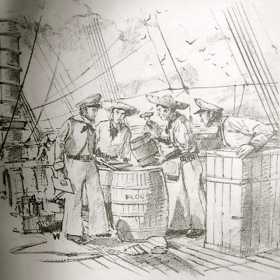 Black and white sketch of Republic of Texas sailors discovering gunpowder in barrels of flour on board the Pelicano. <a href=></a>