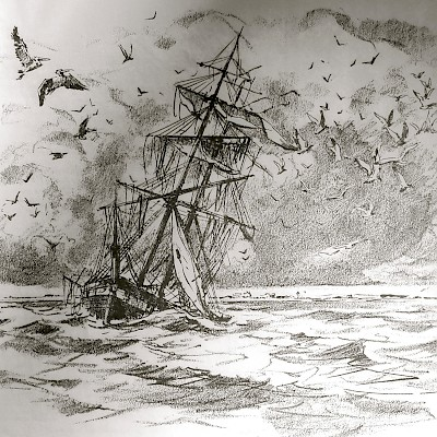 Sketch of the Invincible depicting its final destruction by the forces of nature. <a href=></a>
