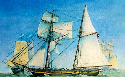 The last battle of the Invincible under attack by two brigs of the Mexican Navy near Galveston Bay. <a href=></a>