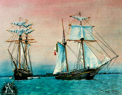 Painting of the Republic of Texas Navy ship Liberty as it tows the captured Pelicano that was carrying gunpowder for Santa Anna&#039;s troops but eventually ended up in General Sam Houston&#039;s army before the battle of San Jacinto. <a href=></a>