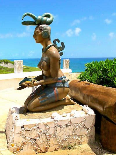 Monument of the Maya goddess Ixchel located at South Point on Isla Mujeres <a href=></a>
