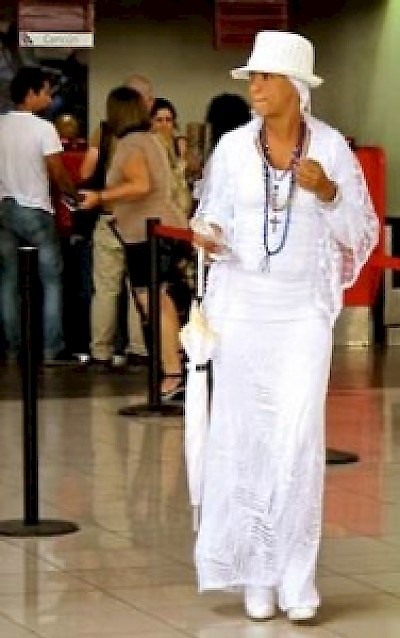 Santeria follower dressed in white in Cuba <a href=></a>