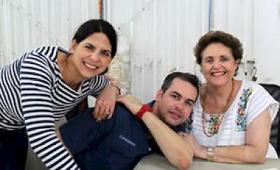 Josefina and Constantino with their mother, Maria Isabel Caceres Menendez de Urzaiz from Hammock Boutique in Merida Yucatan <a href=></a>